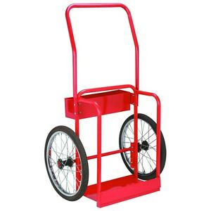 Red Steel Welding Cart Hauls Welding Tanks Torch Equipment Over Rough Terrain