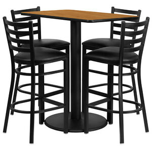 Set Of 10 Rectangular High top Restaurant cafe bar Table And Stool chair Set
