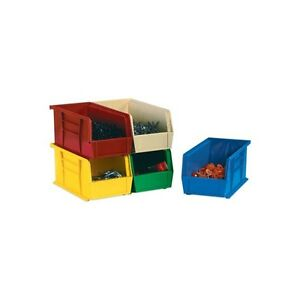 plastic Stack Hang Bin Boxes 10 7 8 x11 x5 Red 6 case