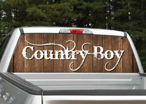 Country Boy Wood Background Rear Window Decal Graphic For Truck Suv