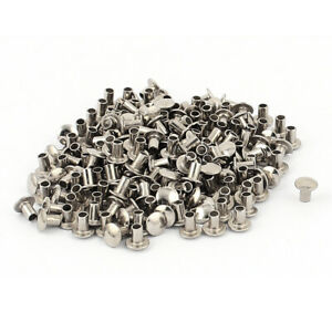 200 Pcs 3 32 X 5 32 Nickel Plated Fasteners Oval Head Semi Tubular Rivets