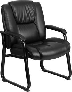Hercules 500 Lb Capacity Big Tall Black Leather Executive Office Side Chair