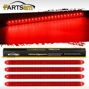 4x17 Red 23led Sealed Trailer Stop Tail And Turn 3rd Brake Light Bar Waterproof