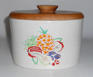 Barbara Willis Pottery Fruit Decorated Small Canister W Lid
