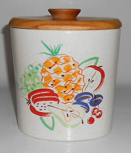 Barbara Willis Pottery Fruit Decorated Large Canister W Lid