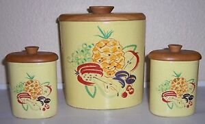 BARBARA WILLIS POTTERY SET 3 DECORATED CANISTERS W LIDS