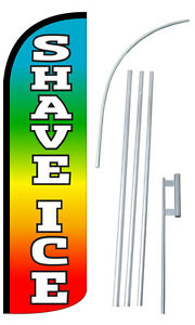 Shave Ice Flag Kit 3 Wide Windless Swooper Feather Advertising Sign