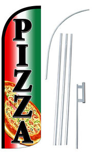 Pizza Flag Kit 3 Wide Windless Swooper Feather Advertising Sign