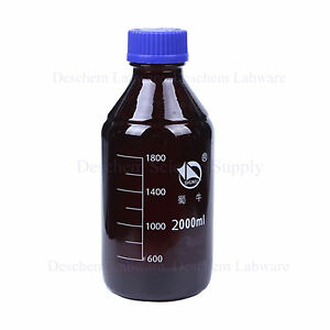 2000ml amber Brown Glass Reagent Bottle W plastic Blue Cap graduation 1800ml