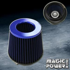 Universal 4 Inch Blue Inlet Jdm Short Ram Turbo Air Flow Blue Intake Filter