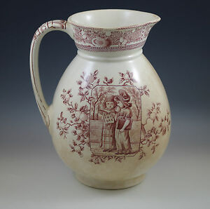 Aesthetic Old Hall England Mother Hubbard Large Water Pitcher Jug Children