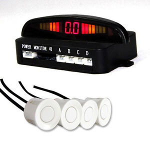 White 4 Sensors Audio Alarm Reverse Parking Radar Buzzer Led Display Parktronic