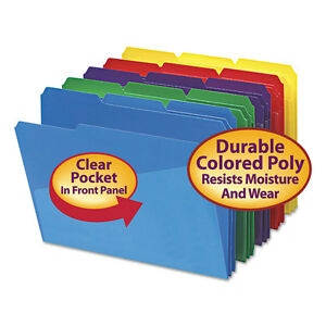 Smead Slash Pocket Poly File Folders 1 3 Cut Top Tab Letter Assorted 30 box