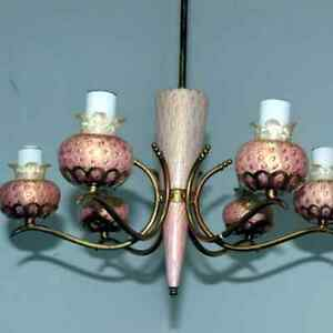 1950s Atomic Pink Chandelier Stunning Vintage Original Space Age Retro Light