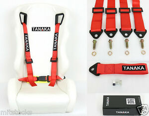 1 Tanaka Universal Red 4 Point Buckle Racing Seat Belt 2 Tow Strap 8000 Lbs