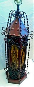 Vintage Wrought Iron Stained Glass Paneled Gothic Spanish Style Table Swag Lamp