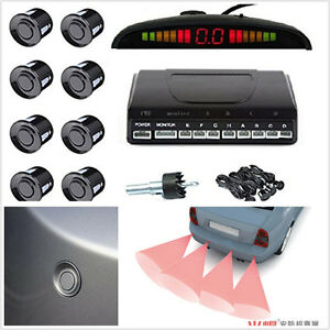 Black 8 Sensors Audio Alarm Reverse Parking Radar Buzzer Led Display Parktronic
