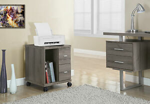 Monarch Office Cabinet Dark Taupe With 2 Drawers On Castors