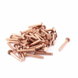50 Pcs 1 8 Diameter 25 32 Long Flat Head Bolts Copper Solid Rivets Fasteners