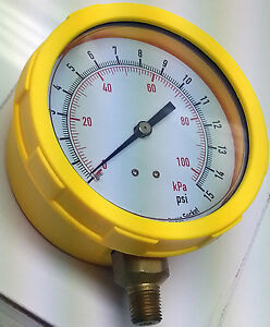 Grainger 4efj7 4 0 15 Psi 0 To 100 Kpa Range Pressure Gauge Abs Case Poly Lens