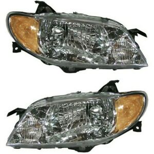Headlight Set For 2001 2003 Mazda Protege Left And Right With Aluminum Bezel 2pc