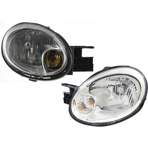 Headlight Set For 2003 2005 Dodge Neon Driver And Passenger Side W Bulb