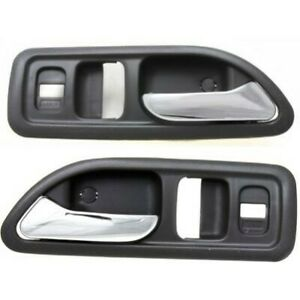 Door Handle Set For 1994 1997 Accord Ex Ex r Lx Se Chrome Gray Front Inner 2pc