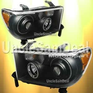 Toyota Tundra Sequoia Ccfl Halo Rims Angel Eye Projector Headlights Black Pair