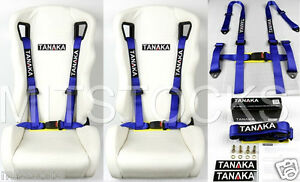 2 X Tanaka Universal Blue 4 Point Buckle Racing Seat Belt Harness 2