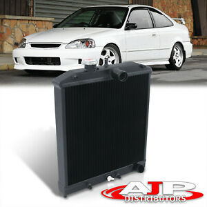 For Honda Civic Crx Del Sol Mt Manual Two Row Core Black Aluminum Sohc Radiator