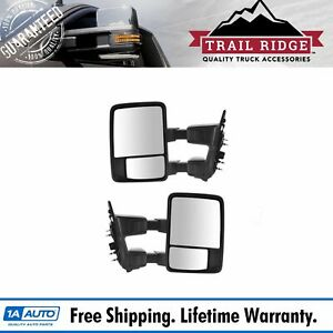 Trail Ridge Tow Mirror Manual Upgrade Power Fold Textured Chrome Pair For Ford