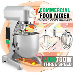 1 Hp 20qt Commercial Dough Food Mixer Bakery Gear Driven 3 Speed Stainless Steel