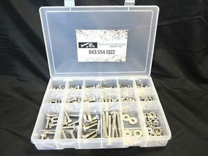 334pcs Coarse Thread 18 8 Stainless Bolt nut washers Assort W Plastic Box
