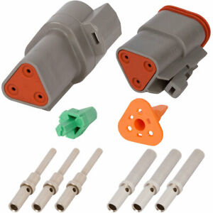 Deutsch Dt 3 Pin Gray Connector Kit W 20 16 Awg Solid Contacts