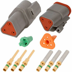 Deutsch Dt 3 Pin Gray Connector Kit W 14 Awg Gold Solid Contacts