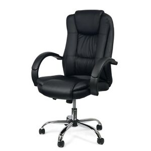 Executive High Back Pu Leather Computer Desk Task Office Manison Chair Black