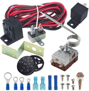 Adjustable 12v Electric Fan Thermo stat Radiator Oil Cooler Hose Temp Switch Kit