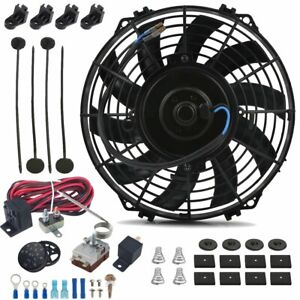 9 Inch Electric Radiator Cooling Fan 12 Volt Adjustable Thermostat Control Kit