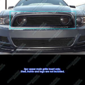 Fits 2013 2014 Ford Mustang Gt Black Main Upper Billet Grille Insert