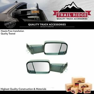 Trail Ridge Towing Mirror Manual Flip Up Textured Pair Set Of 2 For Dodge Ram