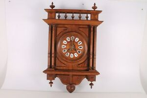 Antique Old Big Massive Charming Wooden Wall Clock With Key And Pendulum