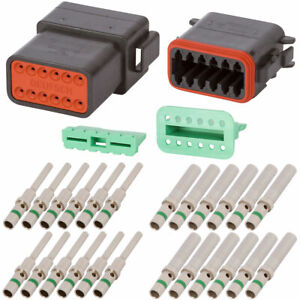 Dt Enhanced Seal 12 Pin Black Connector Kit W 14 Awg Solid Contacts