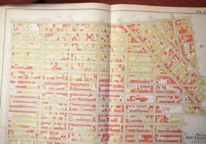 Brooklyn Ny Atlas Map Original Bromley 1908 Plate 18 Linen Bed Stuy Bus