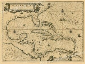 1650s Insulae Americanae Vintage Style Us Caribbean Map 18x24