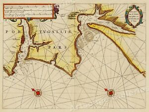 Portugal And Lisbon 1623 Vintage Style Sea Chart Map 24x32