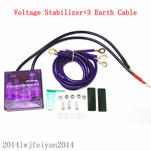 Universal Car Suv Voltage Stabilizer Fuel Saver Regulator Grounding Kit Purple