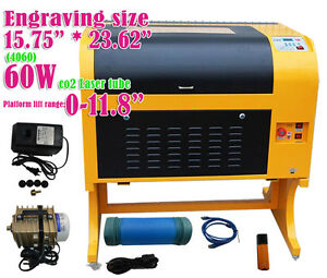 Co2 Laser Engraving Cutting Machine Engraver 60w Laser Tube 110v 4060