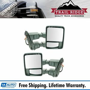 Trail Ridge Tow Mirror Power Fold Extend Heat Smoked Signal Pair For Ford Pickup