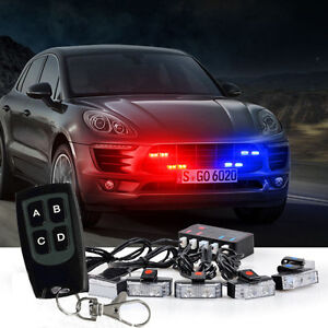 1 Kit Led Red Blue Car Truck Strobe Emergency Warning Lights Bar Deck Dash Grill