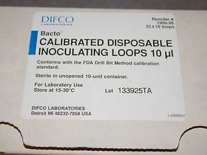 Difco Bacto 1906 96 Calibrated Disposable Inoculating Loops 10ul 25x10 Loops